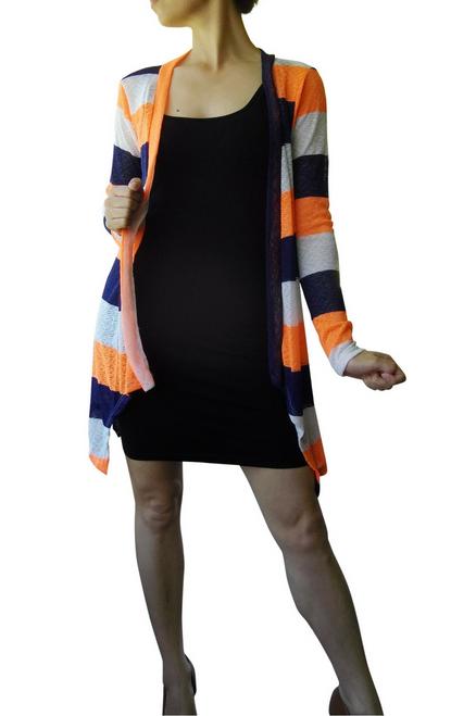 Summer Flyaway Cardigan in Navy Blue/Orange Stripes.