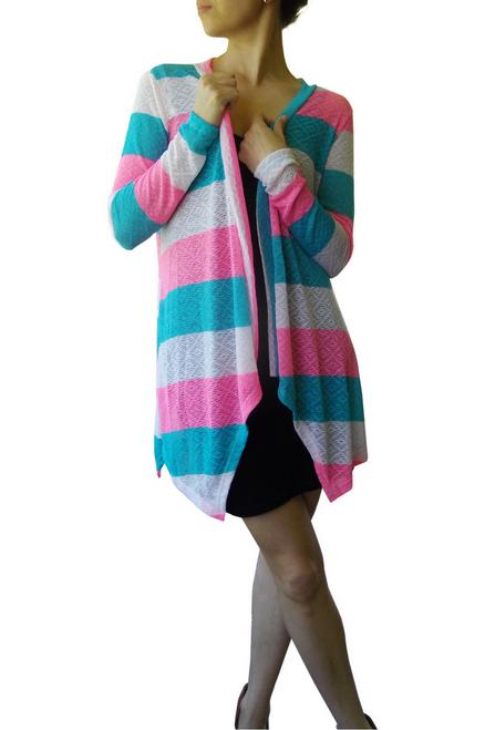 Summer Flyaway Cardigan in Teal/Pink Stripes.