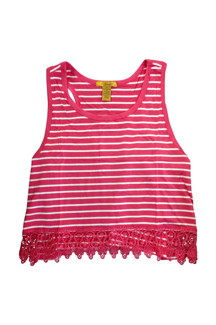 PLUS SIZE  Sleeveless Top with Lace Trim! Red & White Stripes.