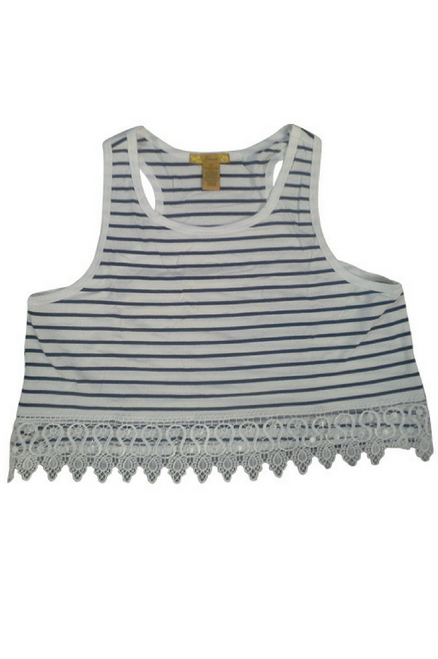 PLUS SIZE  Sleeveless Top with Lace Trim! White with Navy Stripes.