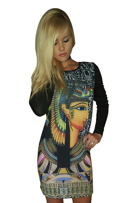 Black Bodycon with Egyptian Pharoah in Stones!