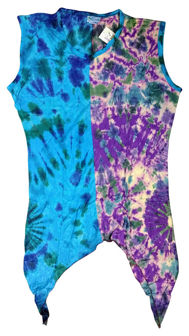 Asymmetrical Tie Dye Boho Dress! Purple/Blue. One Size Fits Most.