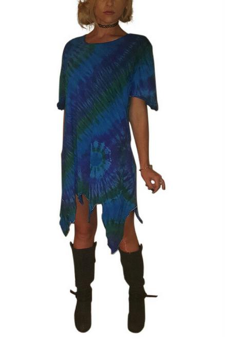 Asymmetrical Tie Dye Blue Tunic Dress! Boho-Chic!  One Size Fits Most.