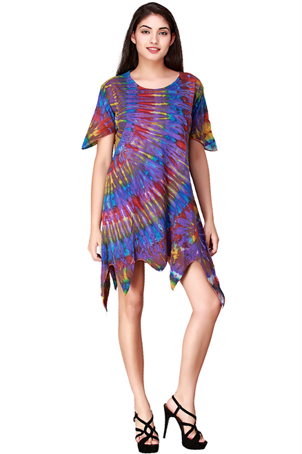 Asymmetrical Tie Dye Purple Tunic Dress! Boho-Chic! One Size Fits Most.