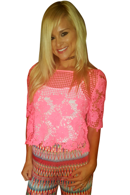 Neon Pink Crochet Top with Kehole Cutout Back.
