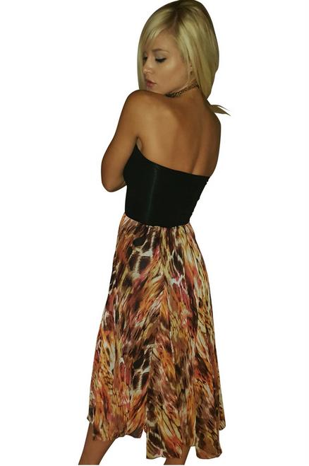 Strapless Tube Dress. Black with Orange Rust.
