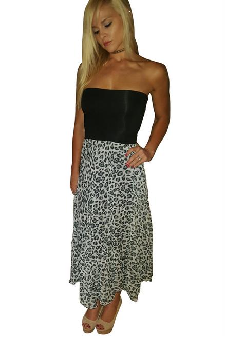 Strapless Tube Dress. Grey Leopard.