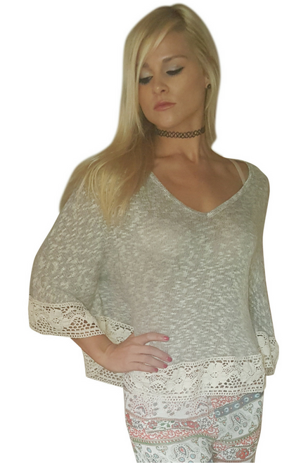 One-Size Boho Poncho in Oatmeal with Crochet Trim!