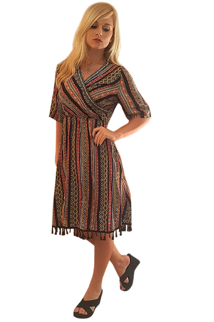 Boutique Item! Rayon Boho Striped Dress With Tassels!