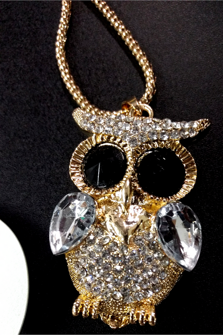 Elegant Owl Necklace Set with Earrings! 'Gold' and Encrusted with 'Diamonds'.