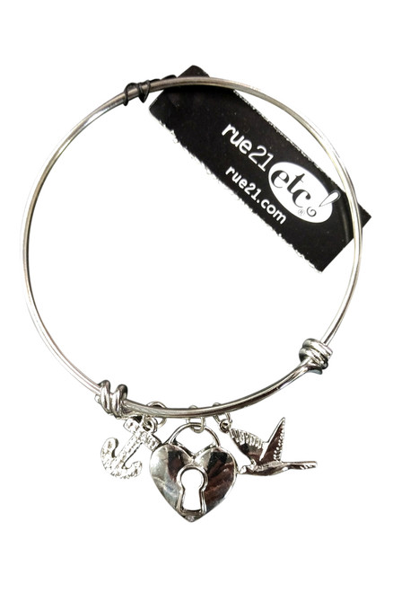 RUE 21 CHARM BRACELET WITH: ANCHOR, DOVE, AND HEART LOCKET. COLOR: SILVER.