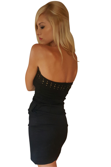 Cotton Strapless Black Dress with Zipper Back & Studs!