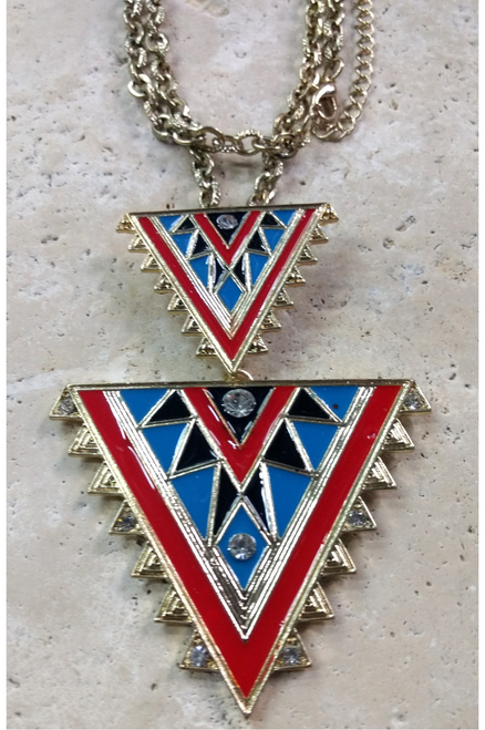 Necklace SET with Earrings! Double Aztec Geo Necklace!