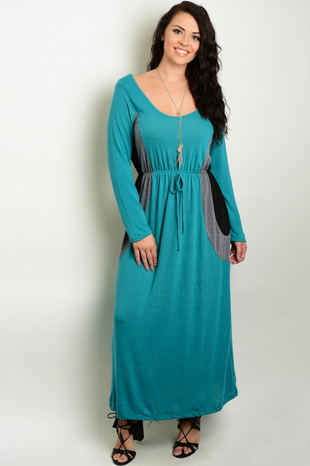 PLUS SIZE Sage Green Maxi Dress with Black Accents!