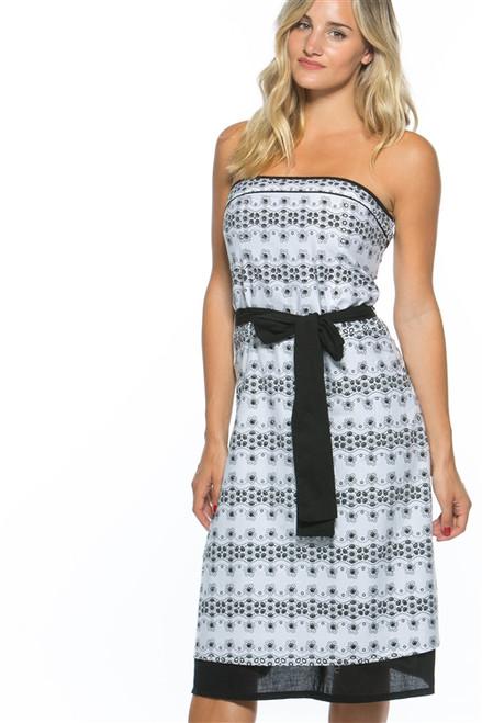 100% Cotton Black & White Long Dress with Crochet Eyelets!