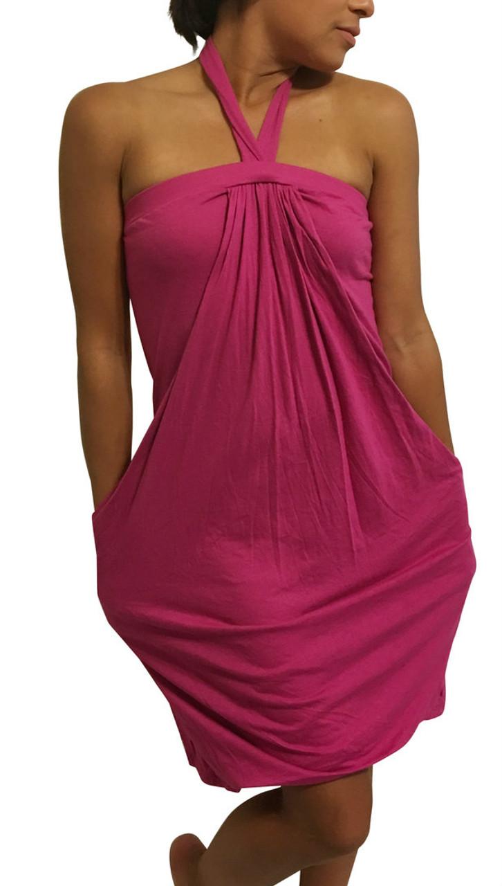 100% COTTON Halter Dress/Coverup. Fuchsia/Hot Pink.