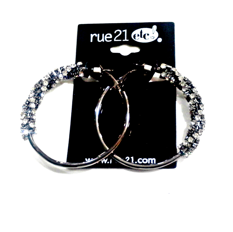 Rue 21! 'Diamond' Encrusted Hoops. $6.99 Tags!