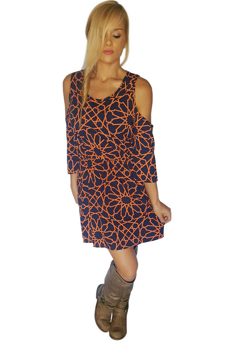 Navy Blue Cutout Dress With Orange Geo Pattern!