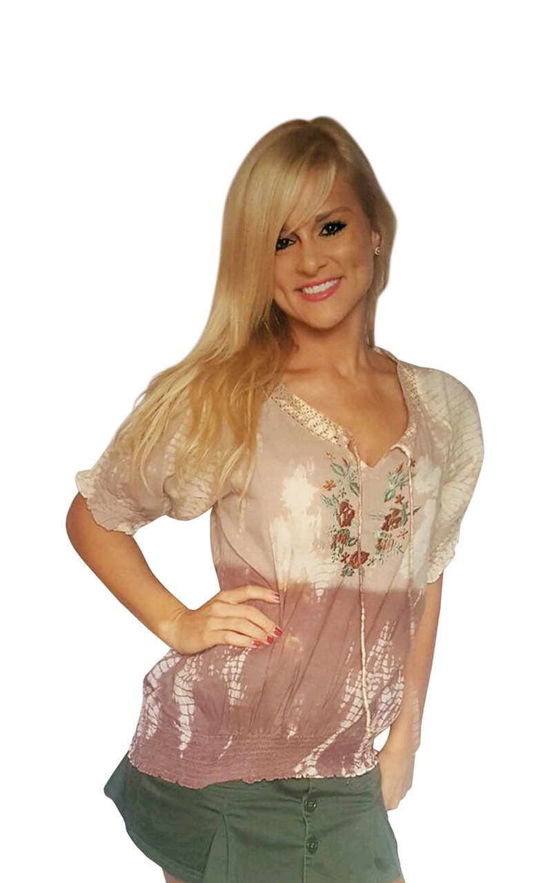 100% Cotton! Boho Tie Dye Embroidered Peasant Top.  Earth Mocha.
