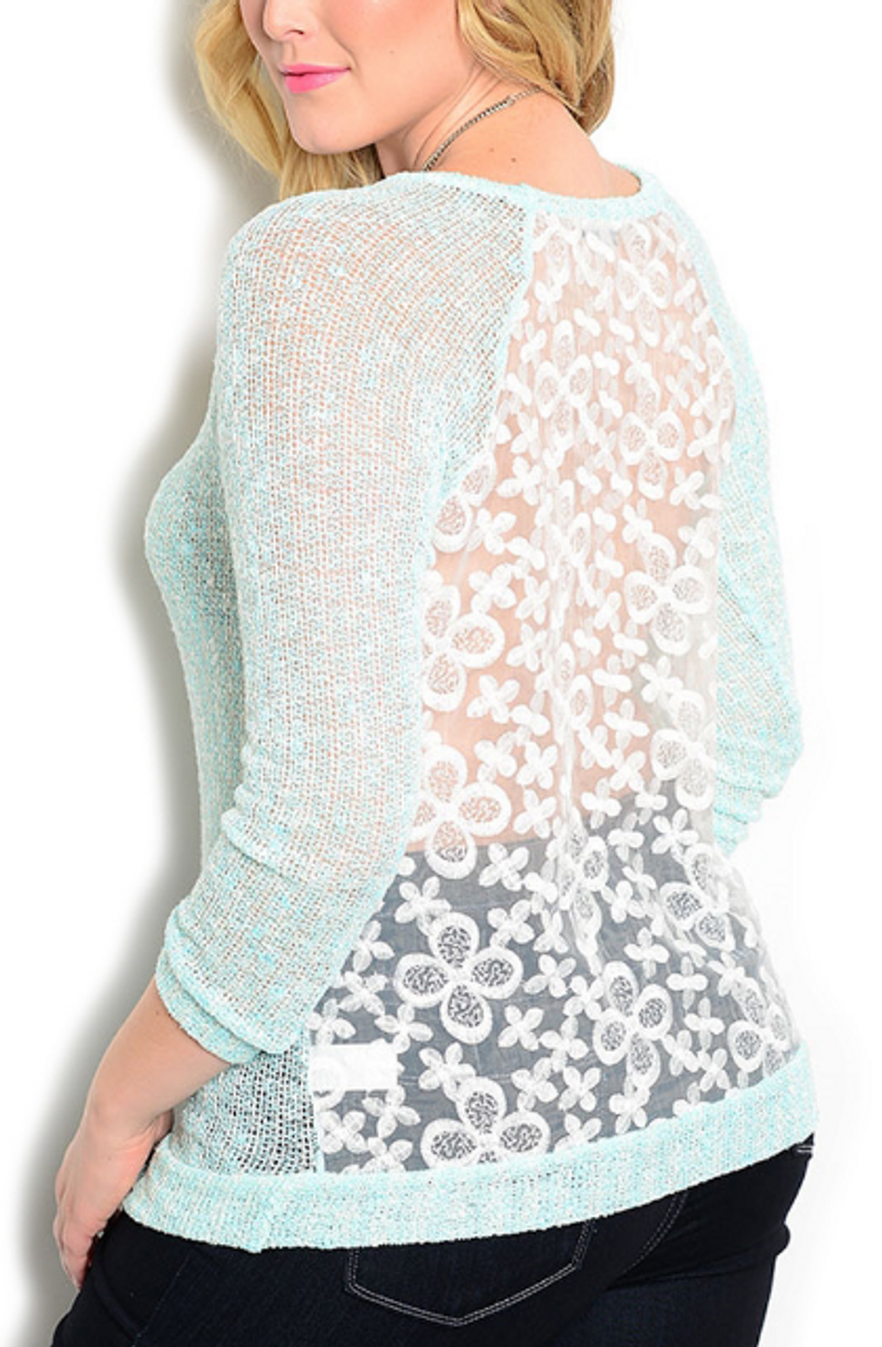 JUNIORS PLUS SIZE Sheer Mint Top with White Lace Back! $23.90 Tags!