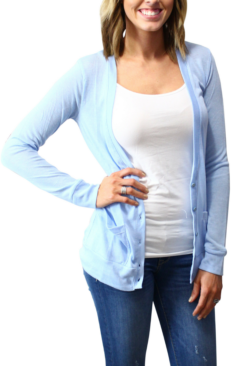 Long Rayon Blend Button Down Cardigan In Sky Blue!