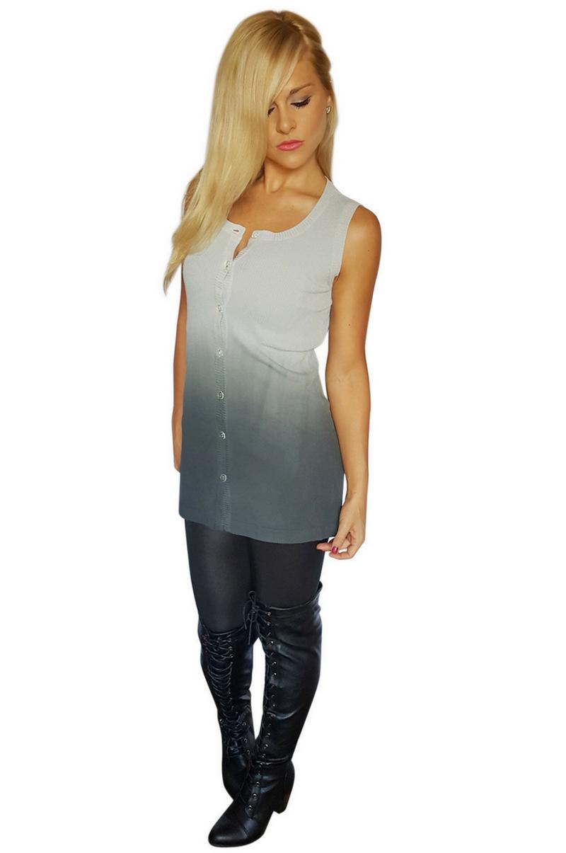 Extra Long Rayon Blend Sleeveless Cardigan! Grey/Blue Ombre ...