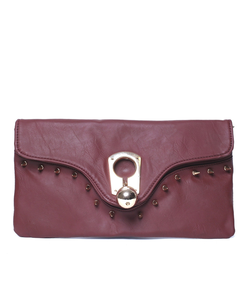 CRIMSON RED FAUX LEATHER PURSE WITH STUDS!