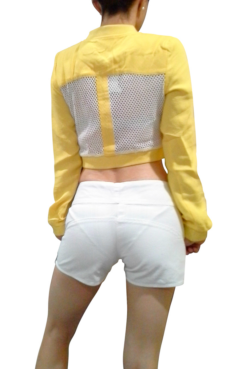 Boutique Crop Top Activewear Jacket! Yellow with White Fishnet.