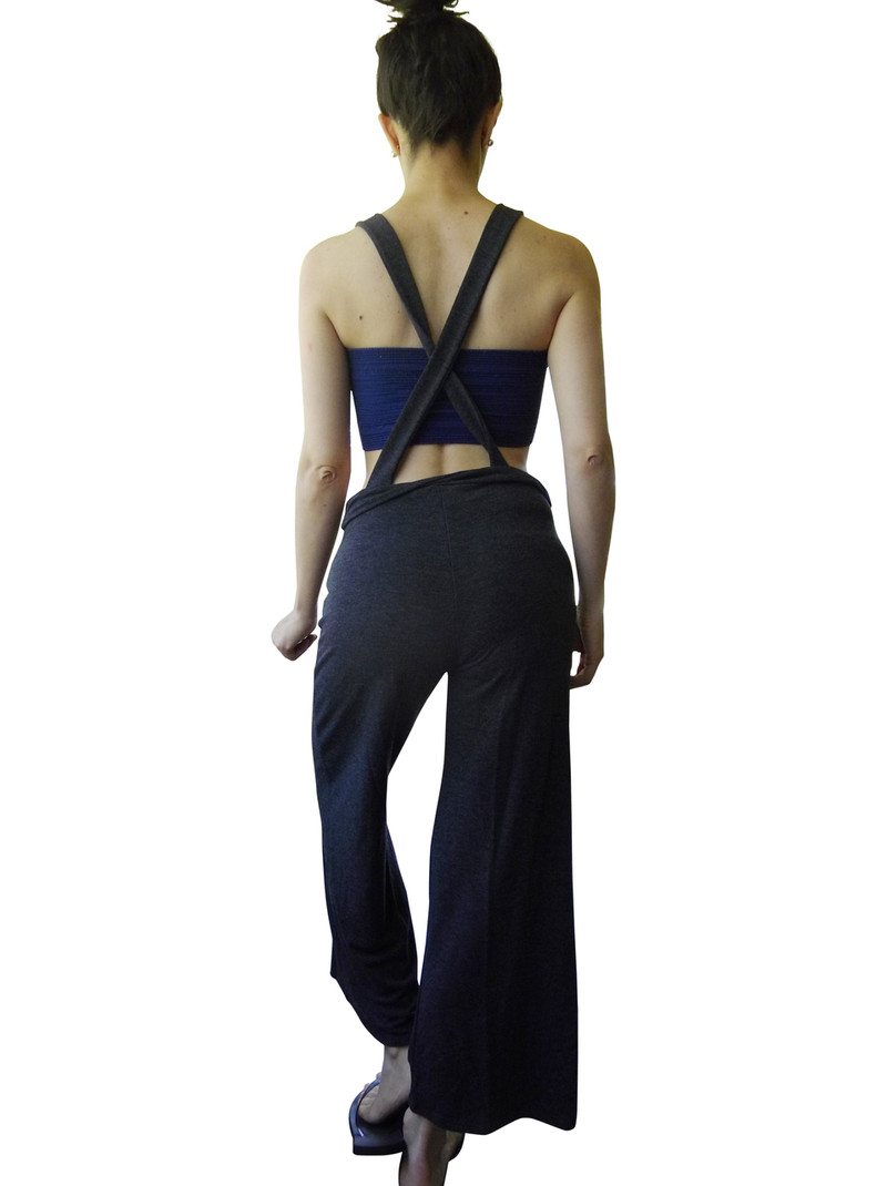 Charcoal Rayon Jumpsuit Overalls with Criss-Cross Back!