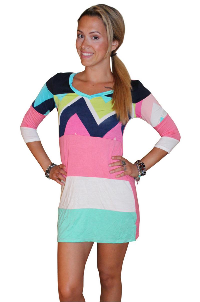 Tunic Dress with Half Sleeves and Chevron Print! 95% Rayon.