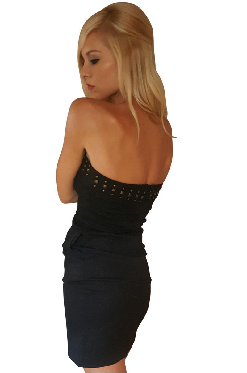 Cotton Strapless Black Dress with Zipper Back & Studs!