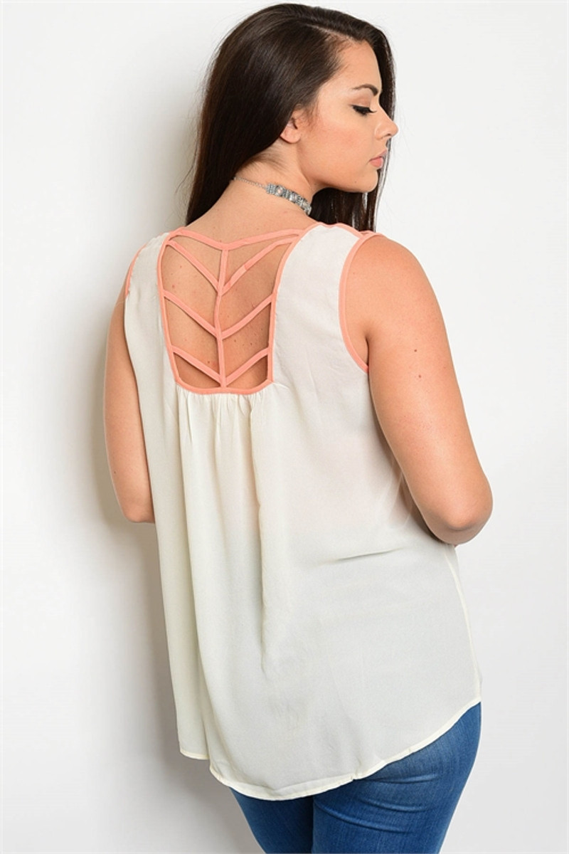 PLUS SIZE Blush Pink Embroidered Top with Spaghetti Strap Cutout Back!