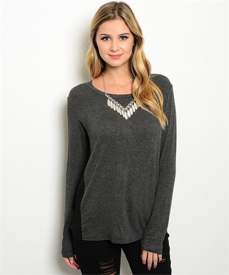 Long Sleeve Charcoal Top with Sheer Black Back!