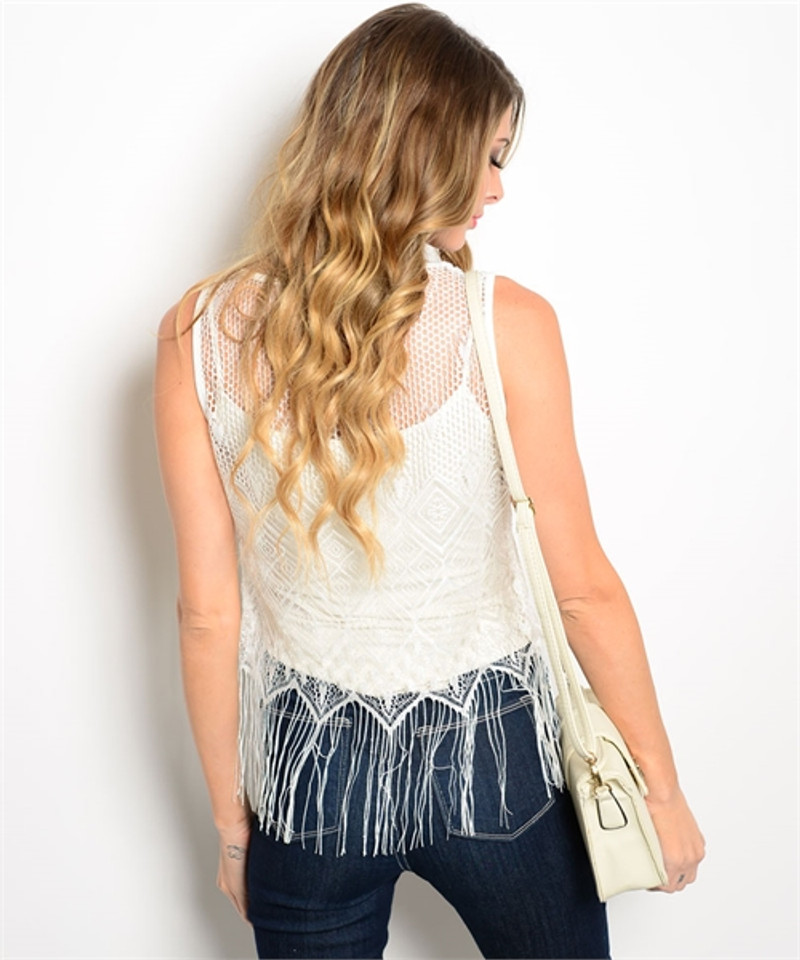 Boho Sleeveless Crochet Top with Fringe Tassels!