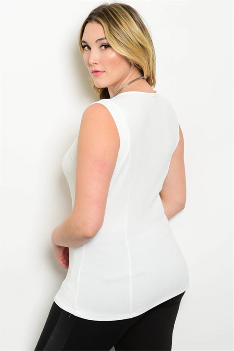 PLUS SIZE White Sleeveless Cutout Top.