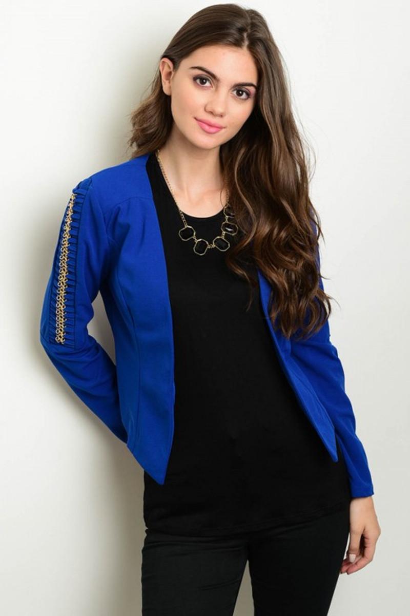 Blue Long Sleeve Bolero Blazer with Embellished Sleeves!