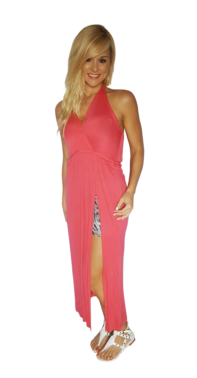Maxi Dress with Slit Side and Zebra Print Lining! Coral.