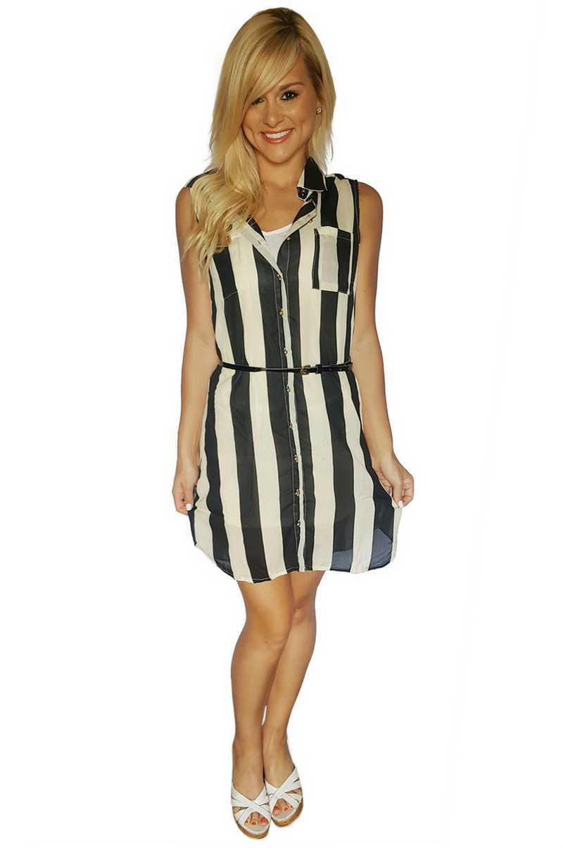 Black and White Striped Dress with Belt from Marianne!