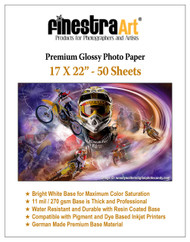 "17"" X 22"" Premium Glossy Inkjet Photo Paper - 50 Sheets"