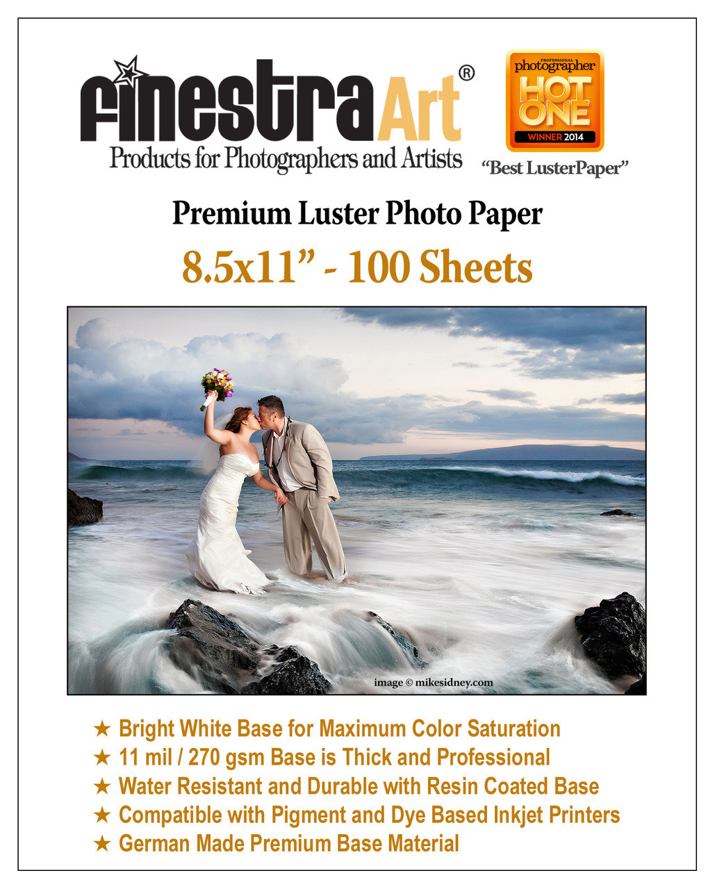 85x11 Premium Luster Photo Paper 100 Sheets Finestra Art