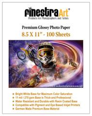 "8.5"" X 11"" Premium Glossy Inkjet Photo Paper - 100 Sheets"