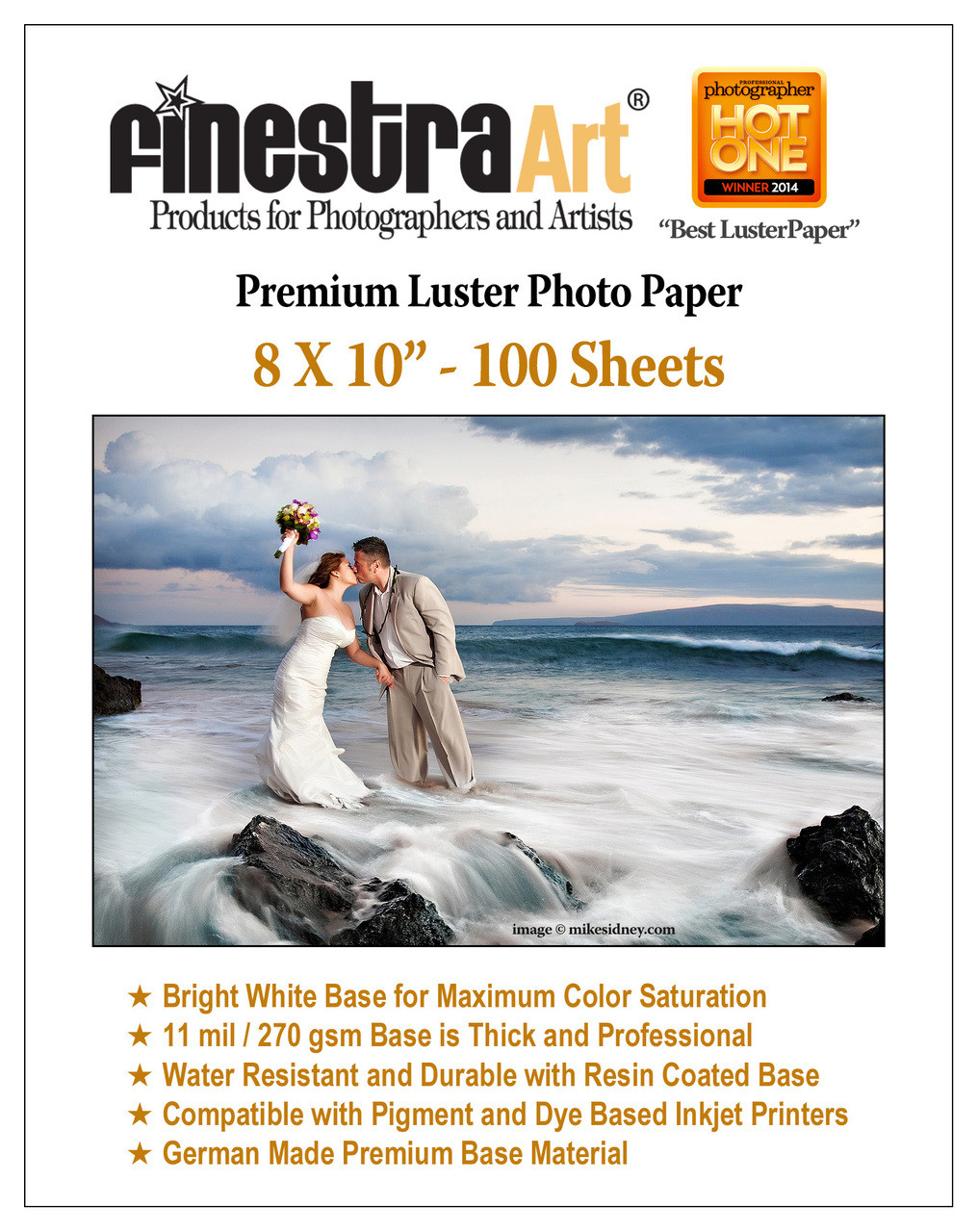 8x10 Premium Luster Photo Paper 100 Sheets Finestra Art