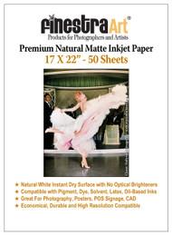 "17 x 22"" 50 Sheets Premium Natural Matte Inkjet Paper 230gsm"