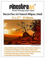 "11"" X 17"" Baryta Fine Art Natural Inkjet Paper - 25 Sheets"