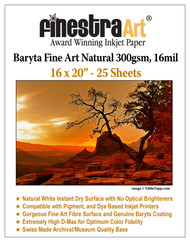 "16"" X 20"" Baryta Fine Art Natural Inkjet Paper - 25 Sheets"