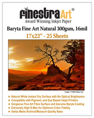 "17"" X 22"" Baryta Fine Art Natural Inkjet Paper - 25 Sheets"
