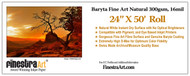 "24"" X 50' Baryta Fine Art Natural Inkjet Paper  - Roll"