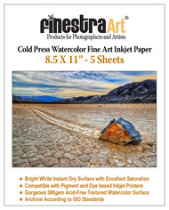 "8.5"" X 11"" Cold Press Watercolor Fine Art Inkjet Paper - 5 Sheets"