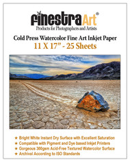 "11"" X 17"" Cold Press Watercolor Fine Art Inkjet Paper - 25 Sheets"