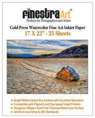 "17"" X 22"" Cold Press Watercolor Fine Art Inkjet Paper - 25 Sheets"